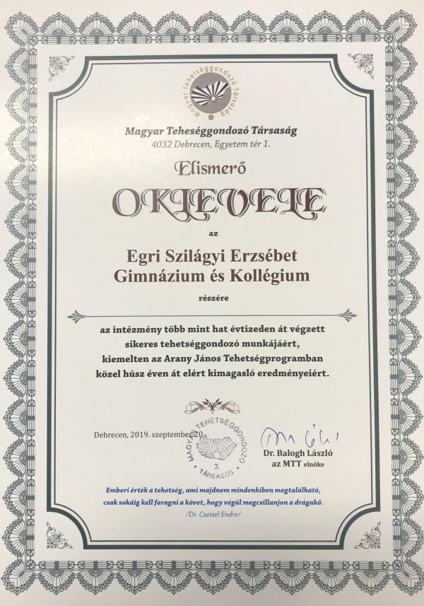 Magyar Tehetséggondozó Társaság Elismerő Oklevele